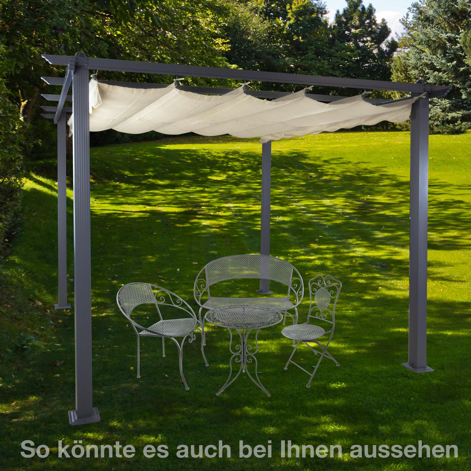 alu pergola sonnenschutz berdachung freiburg ecru mit sonnendach 296x296 cm ebay. Black Bedroom Furniture Sets. Home Design Ideas