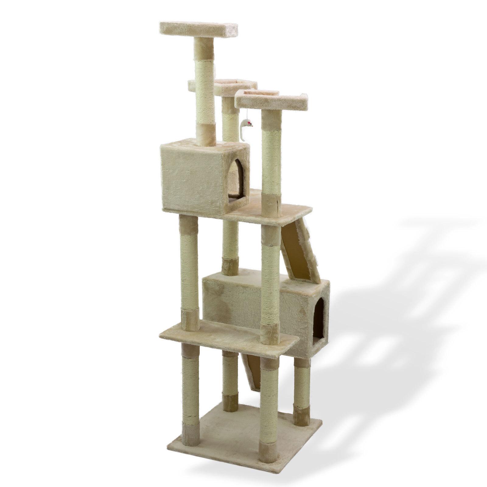 katzen kratzbaum katzenbaum spielbaum kletterbaum katzenkratzbaum beige 180 cm ebay. Black Bedroom Furniture Sets. Home Design Ideas