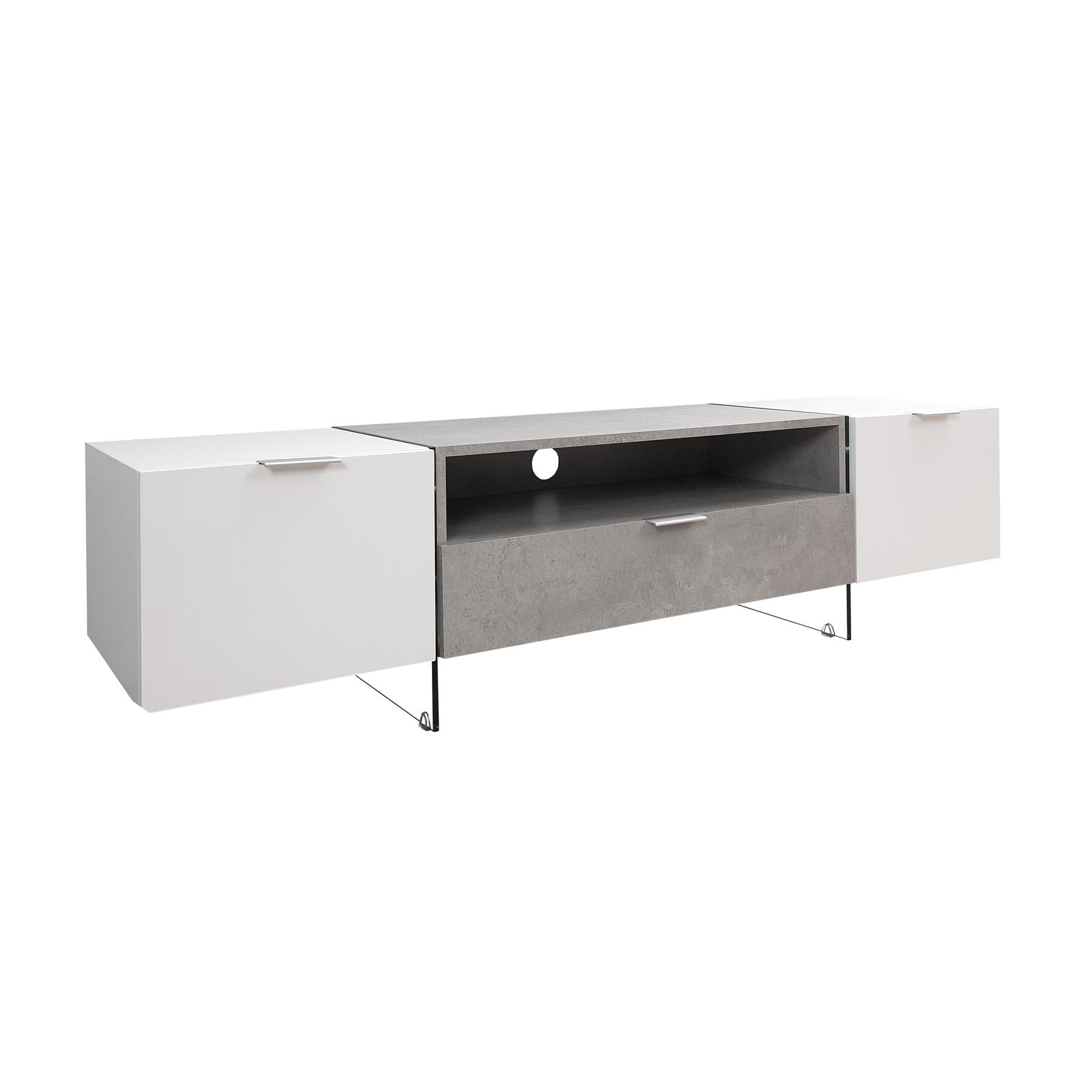 design tv lowboard onyx edelmatt weiss beton optik 160 cm board mit schublade ebay. Black Bedroom Furniture Sets. Home Design Ideas