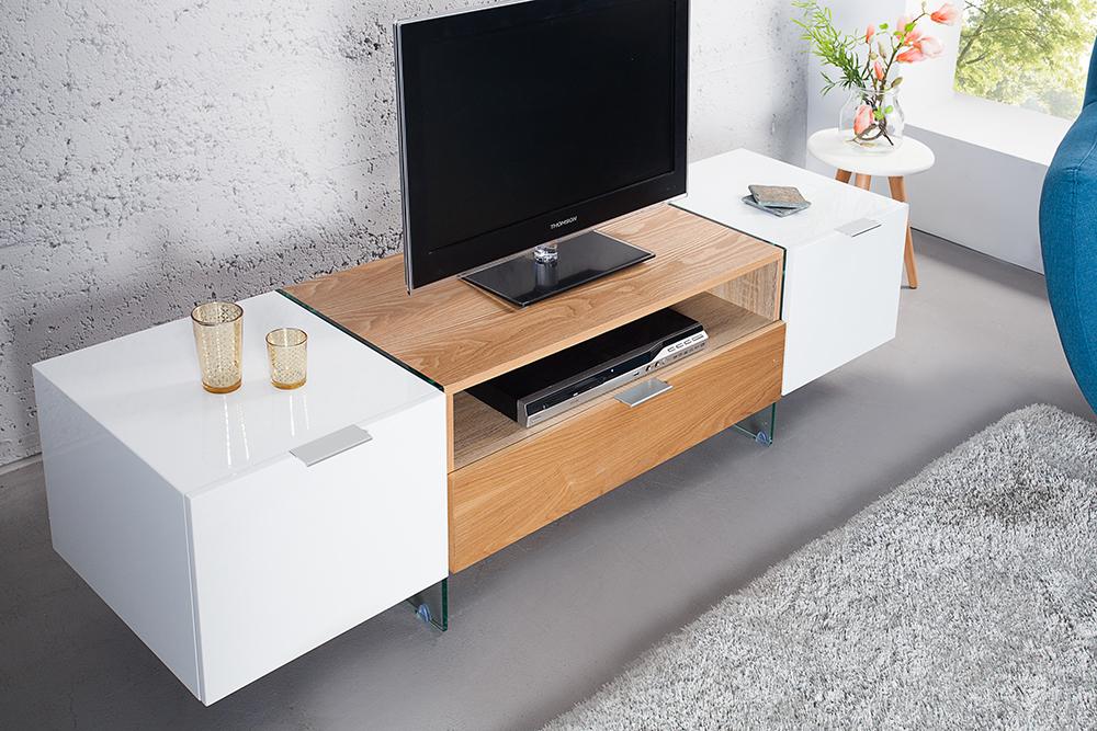 design tv lowboard onyx weiss hochglanz glas eiche 160 cm fernsehtisch ebay. Black Bedroom Furniture Sets. Home Design Ideas