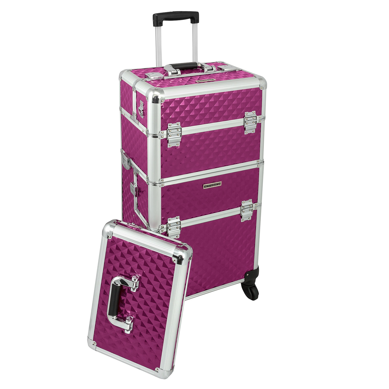 kosmetikkoffer lila trolley pilotenkoffer beauty case friseurkoffer deckel ebay. Black Bedroom Furniture Sets. Home Design Ideas