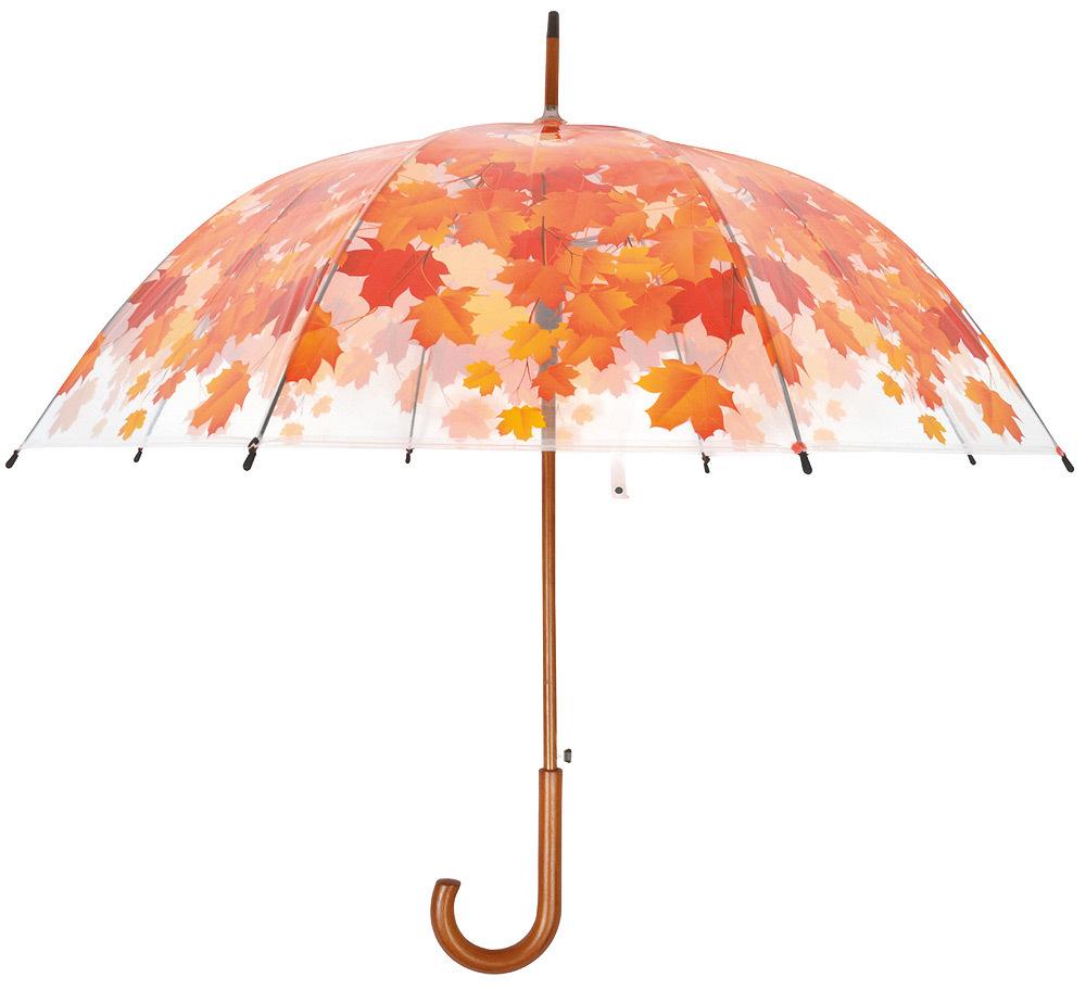 orange Transparent Automatik Damen Schirme Regenschirm Stockschirm Herbstlaub