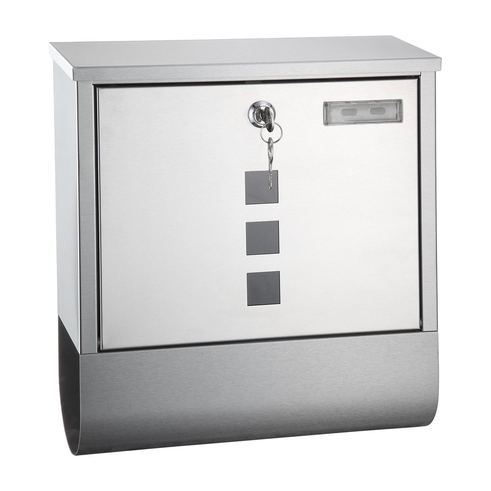 edelstahl design briefkasten postkasten mit sichtfenster zeitungsrolle silber ebay. Black Bedroom Furniture Sets. Home Design Ideas