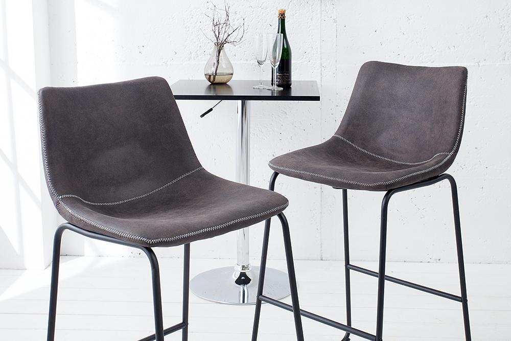 Design barstuhl django vintage grau mit eisengestell for Barstuhl grau
