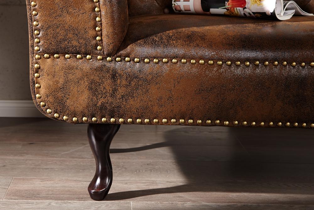 design chesterfield recamier im antik look couch sofa sessel polsterliege braun 4250243541280. Black Bedroom Furniture Sets. Home Design Ideas
