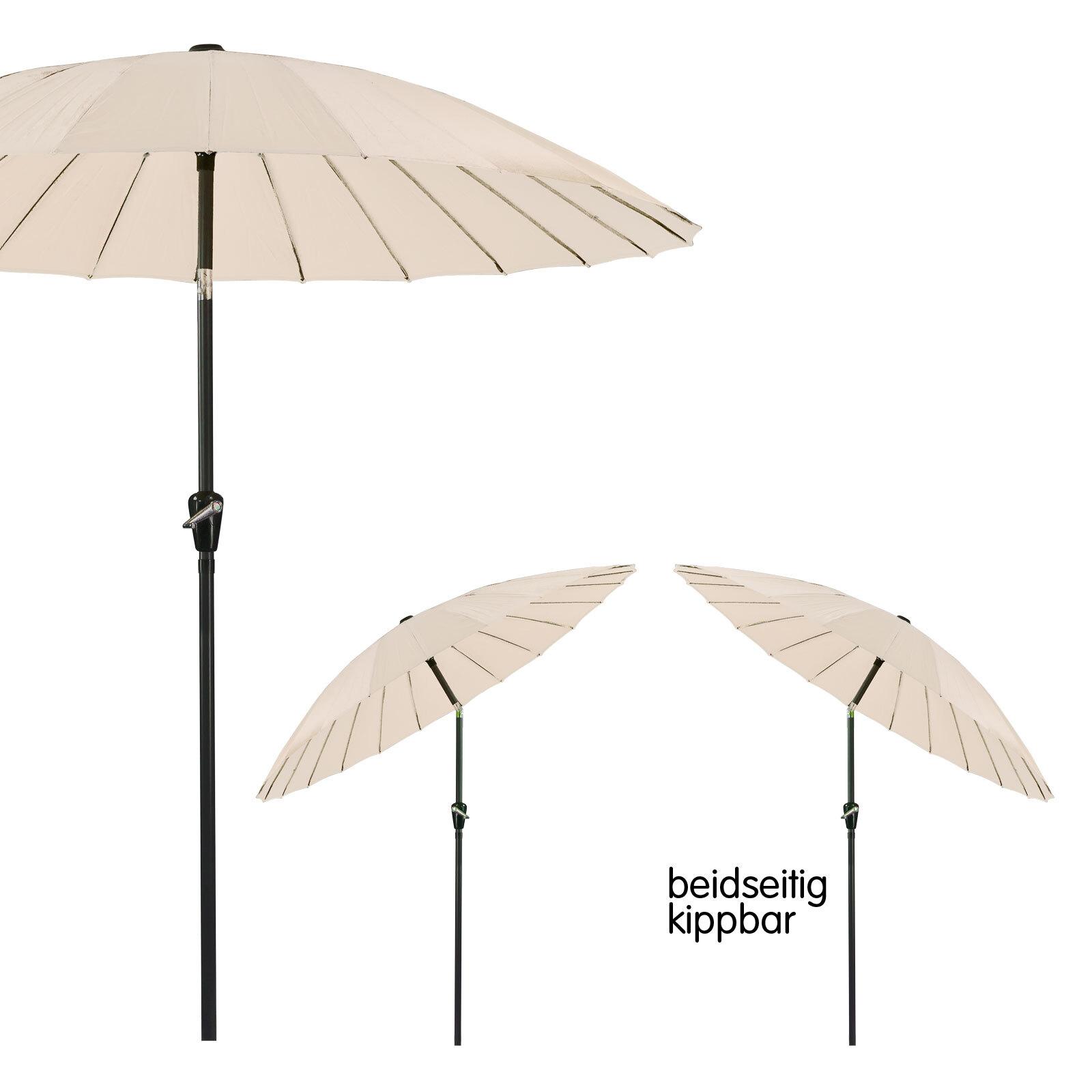 sonnenschirm gartenschirm sonnenschutz schirm mit kurbel rund 2 5m ecru beige ebay. Black Bedroom Furniture Sets. Home Design Ideas