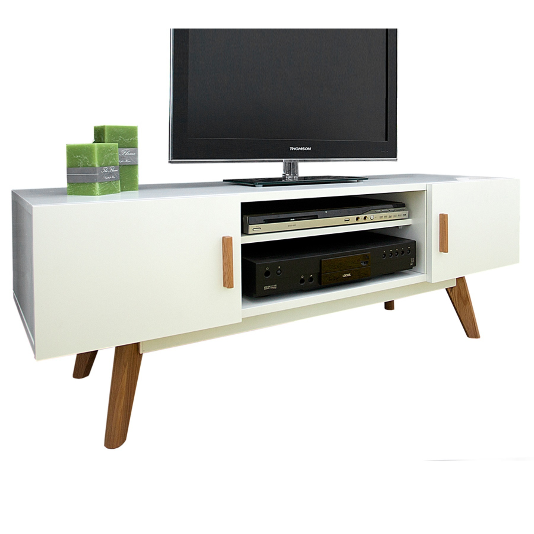 design lowboard scandinavia meisterst ck 120cm wei echt eiche tv board schrank ebay. Black Bedroom Furniture Sets. Home Design Ideas