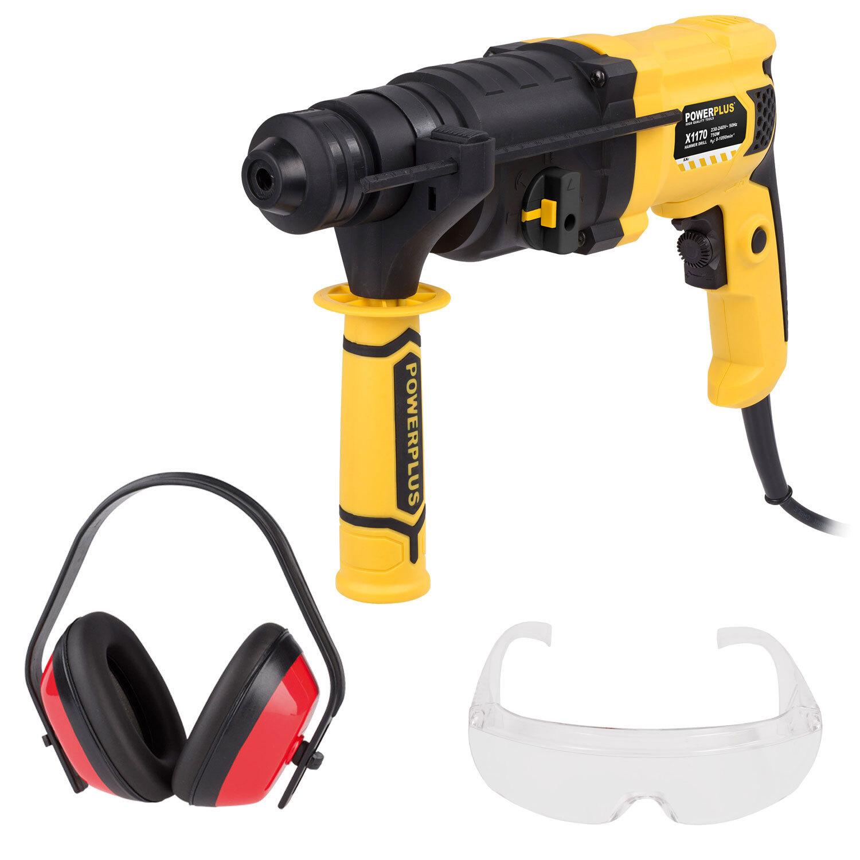 bohrhammer sds plus 750 w bohrmaschine im koffer + schutzbrille +