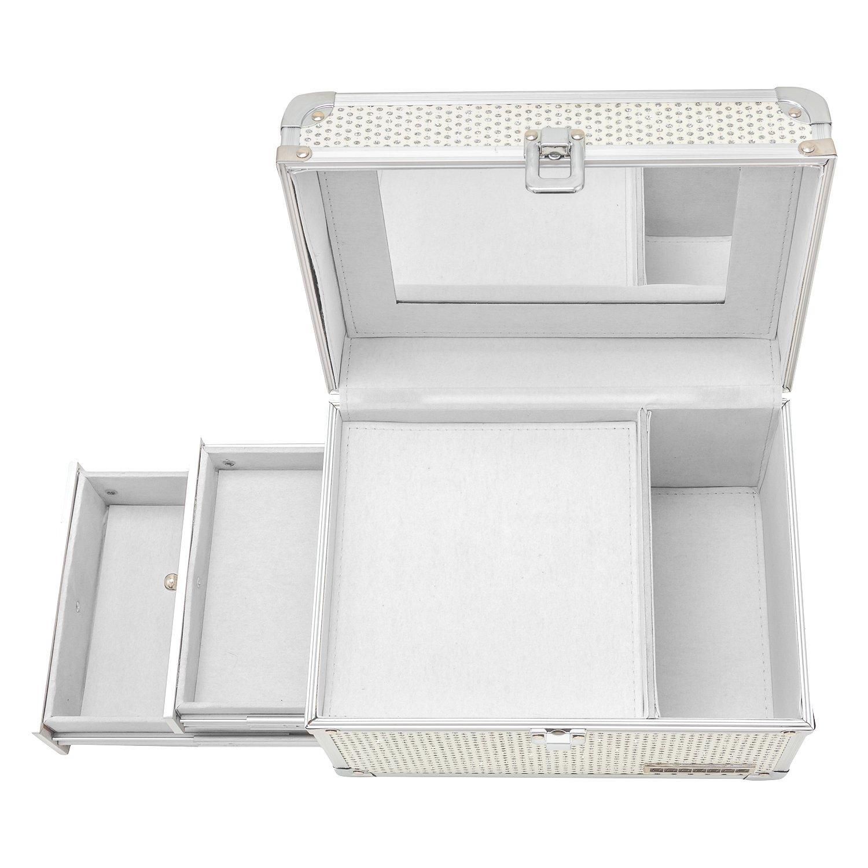 schmuckk stchen schmuckkoffer schminkkoffer glitzer wei 2 seitenf cher spiegel ebay. Black Bedroom Furniture Sets. Home Design Ideas