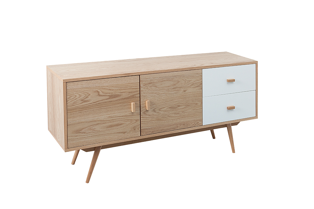 stylisches echt eiche sideboard hygge 150cm. Black Bedroom Furniture Sets. Home Design Ideas