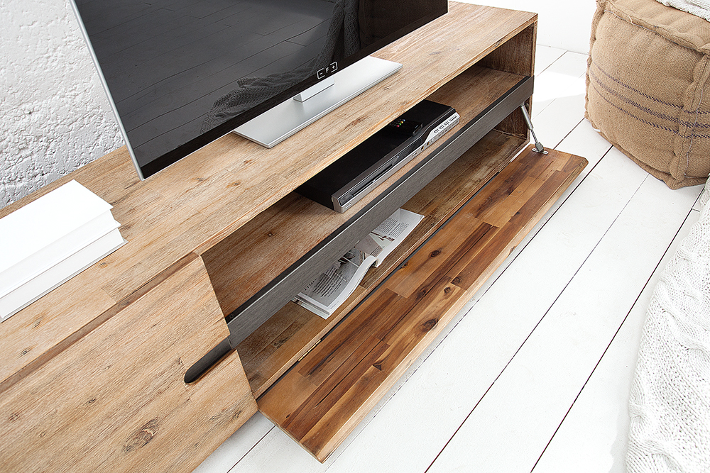 massives tv board wotan 170cm akazie massivholz teakgrau gek lkt ebay. Black Bedroom Furniture Sets. Home Design Ideas
