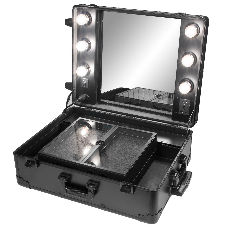 schminktisch kosmetikkoffer visagistenkoffer spiegel beleuchtung schwarz 4035475044613 ebay. Black Bedroom Furniture Sets. Home Design Ideas
