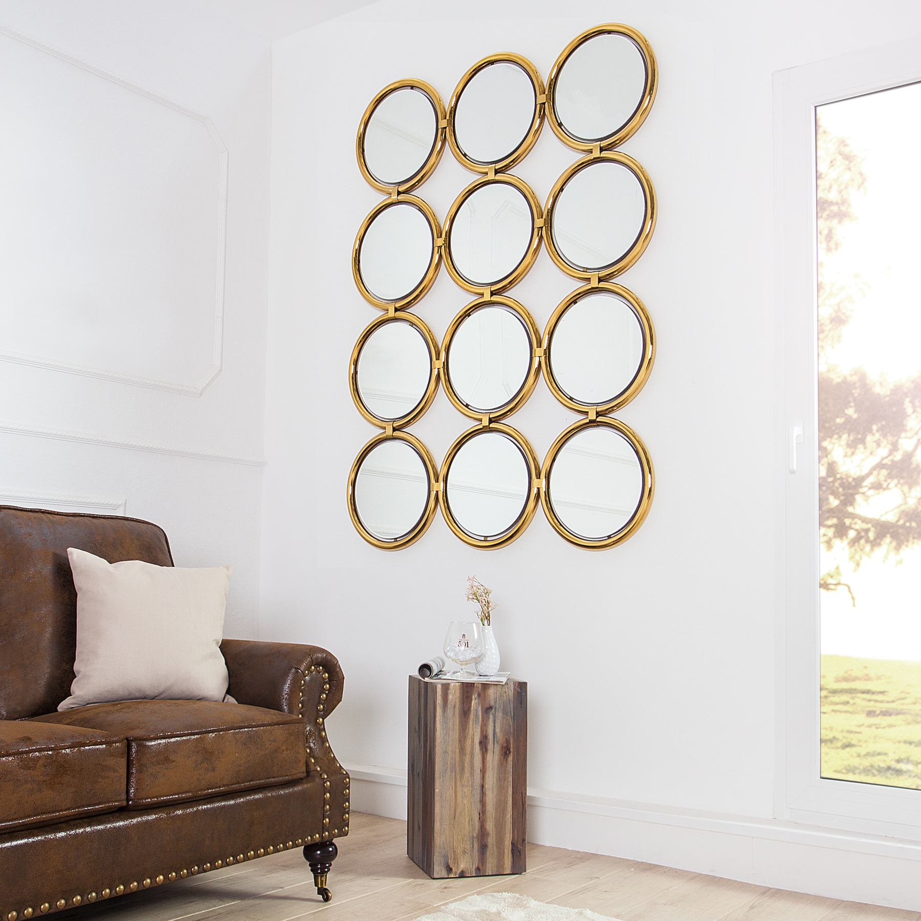 gro er design wandspiegel circle gold 130 cm spiegel rund ebay. Black Bedroom Furniture Sets. Home Design Ideas