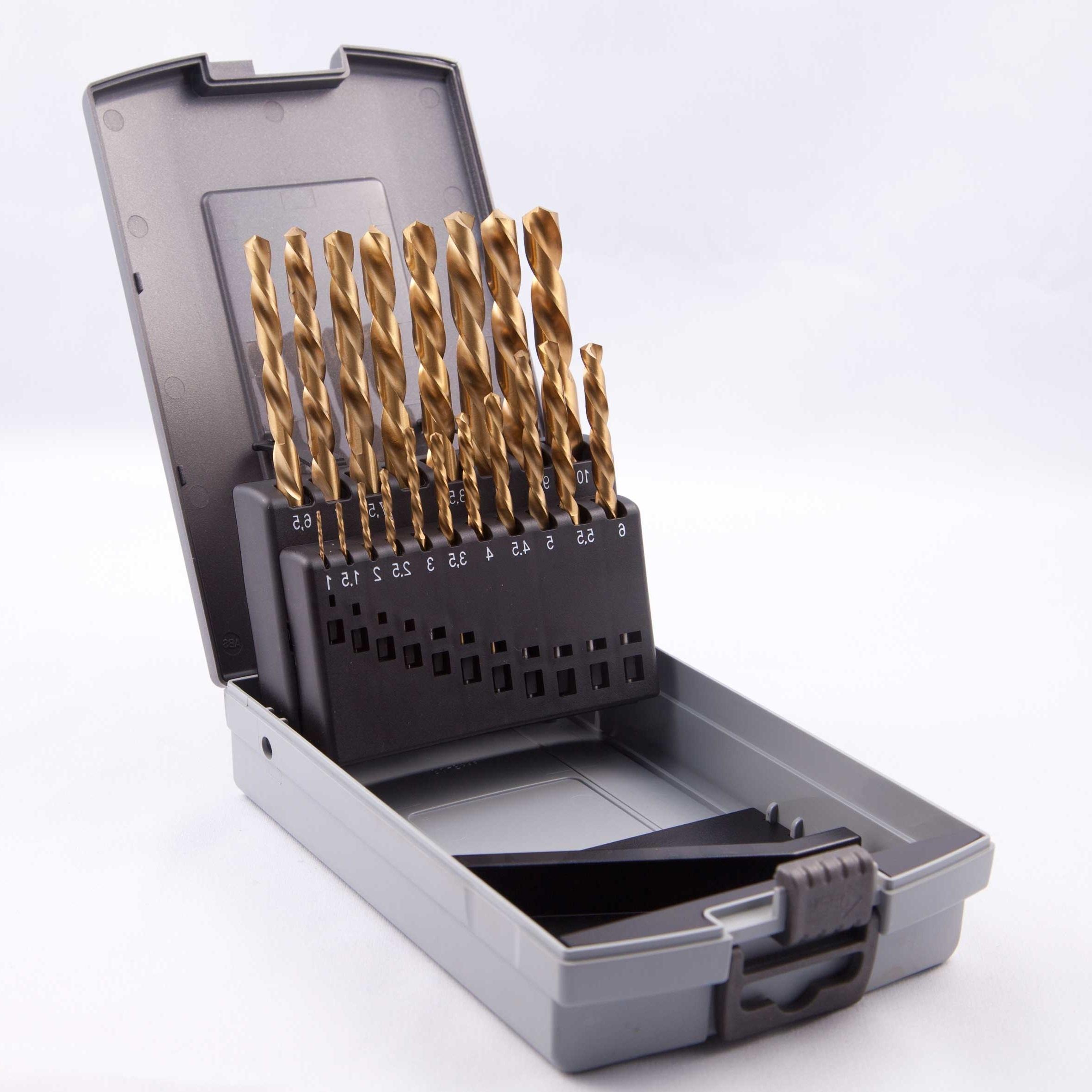 HSS Metallbohrer Spiralbohrerkassette Titan 19 teilig Metall Bohrer Set Satz