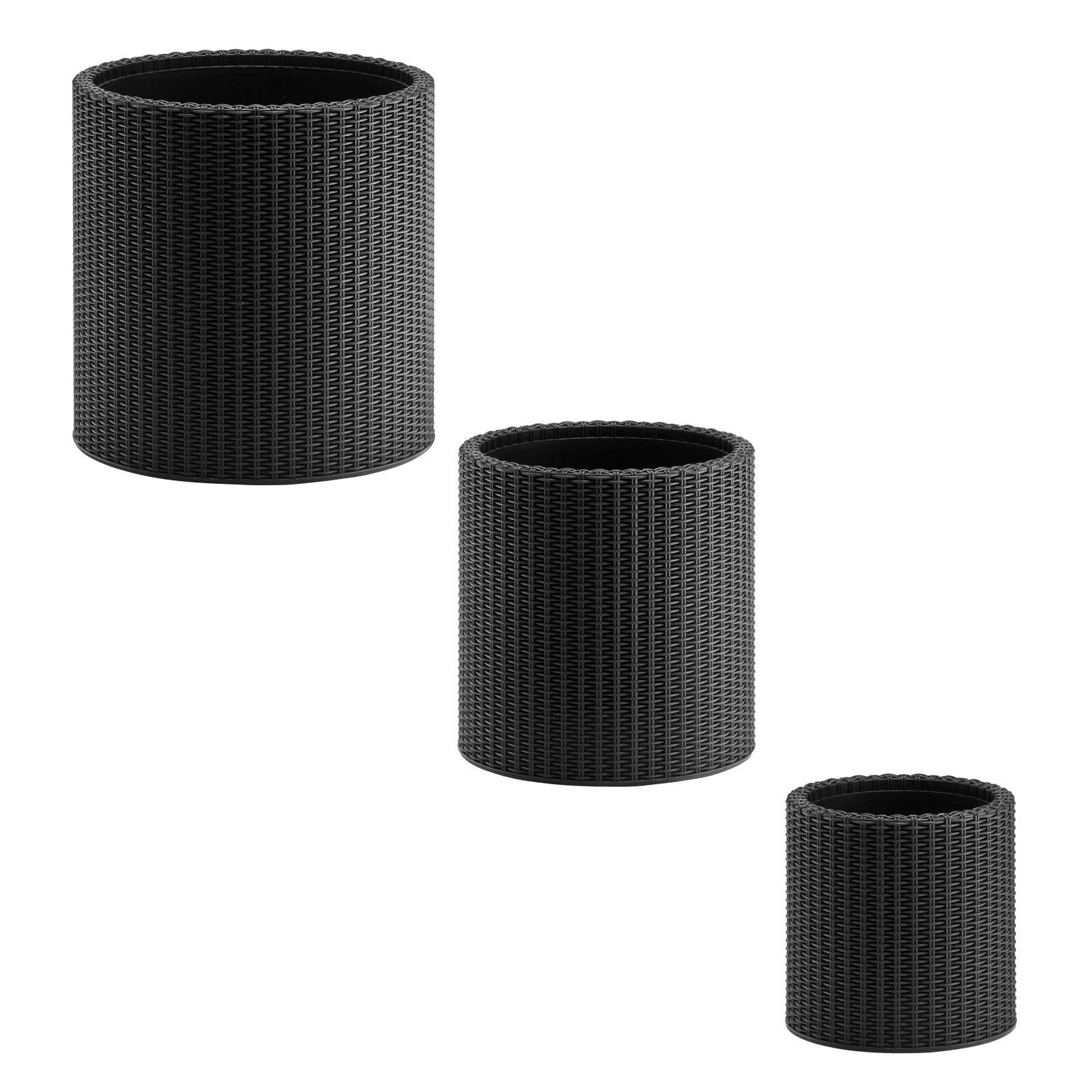 pflanzgef blumentopf pflanzk bel blumenk bel set rattan 3 tlg anthrazit ebay. Black Bedroom Furniture Sets. Home Design Ideas