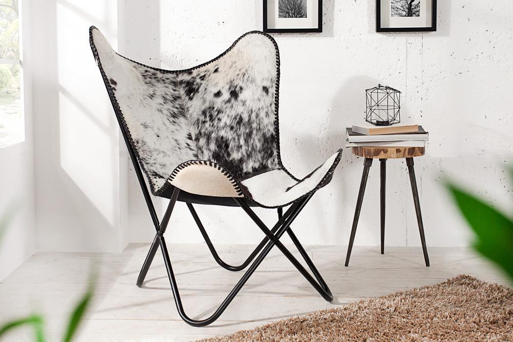 design sessel butterfly kuhfell schwarz wei stuhl fellsessel fell relaxsessel ebay. Black Bedroom Furniture Sets. Home Design Ideas