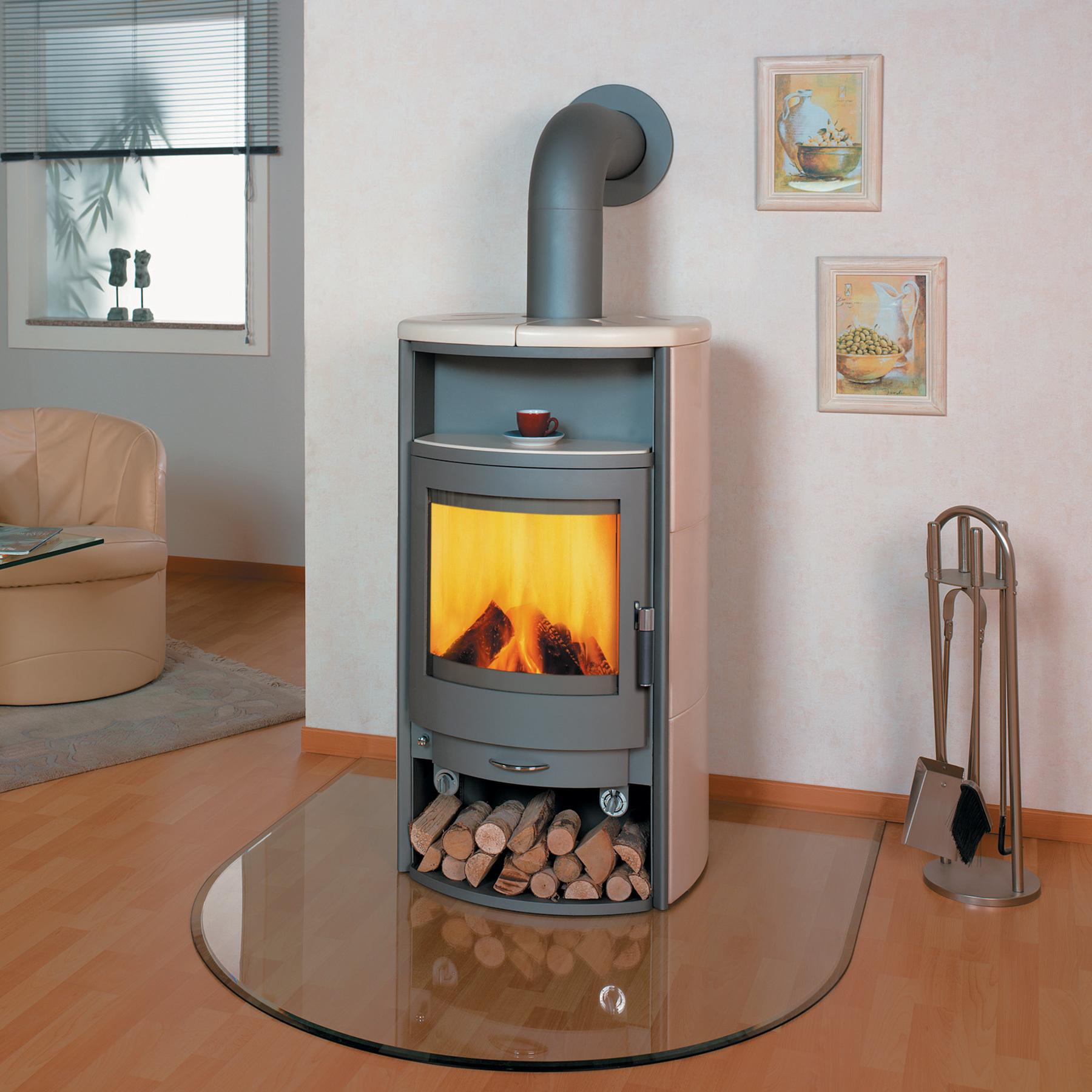 kaminofen hark kodiak titan creme kacheln stahlofen. Black Bedroom Furniture Sets. Home Design Ideas