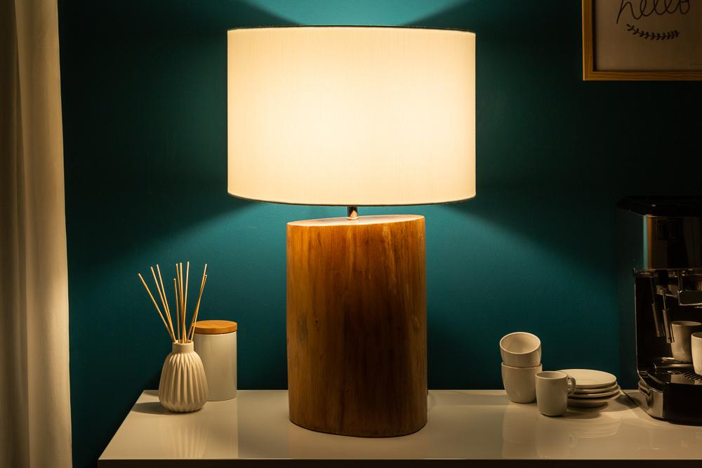 Design Tischlampe PURE NATURE 60cm Mahagoni Holz Tischleuchte Wohnzimmerlampe