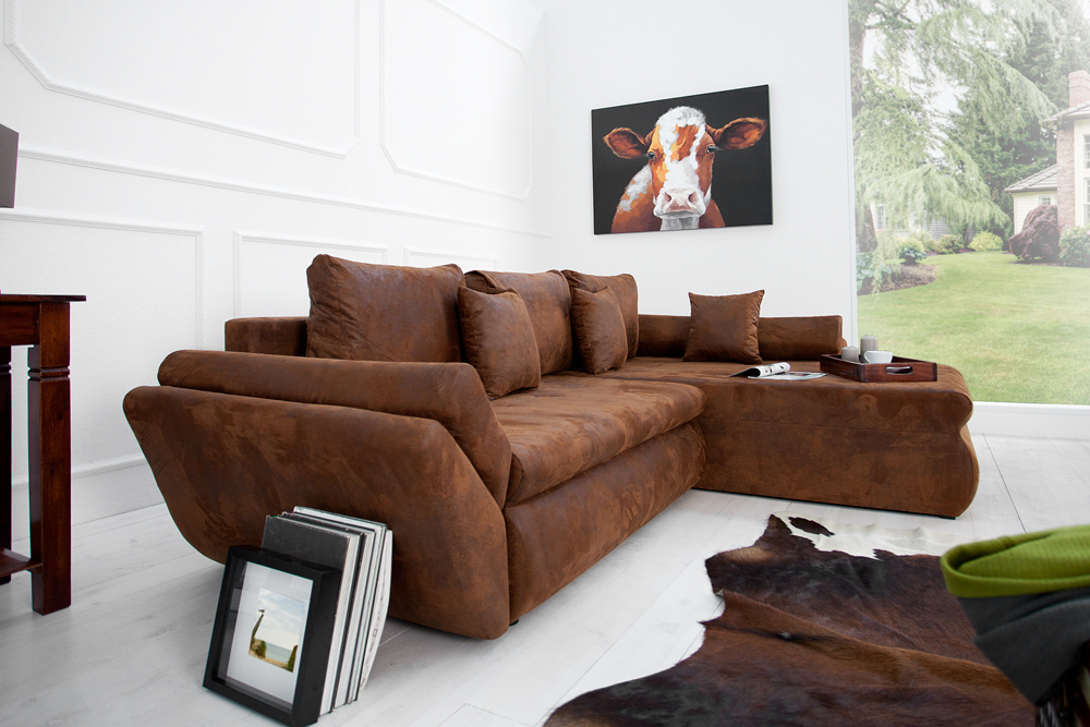ecksofa rodeo braun used look mit schlaffunktion sofa. Black Bedroom Furniture Sets. Home Design Ideas