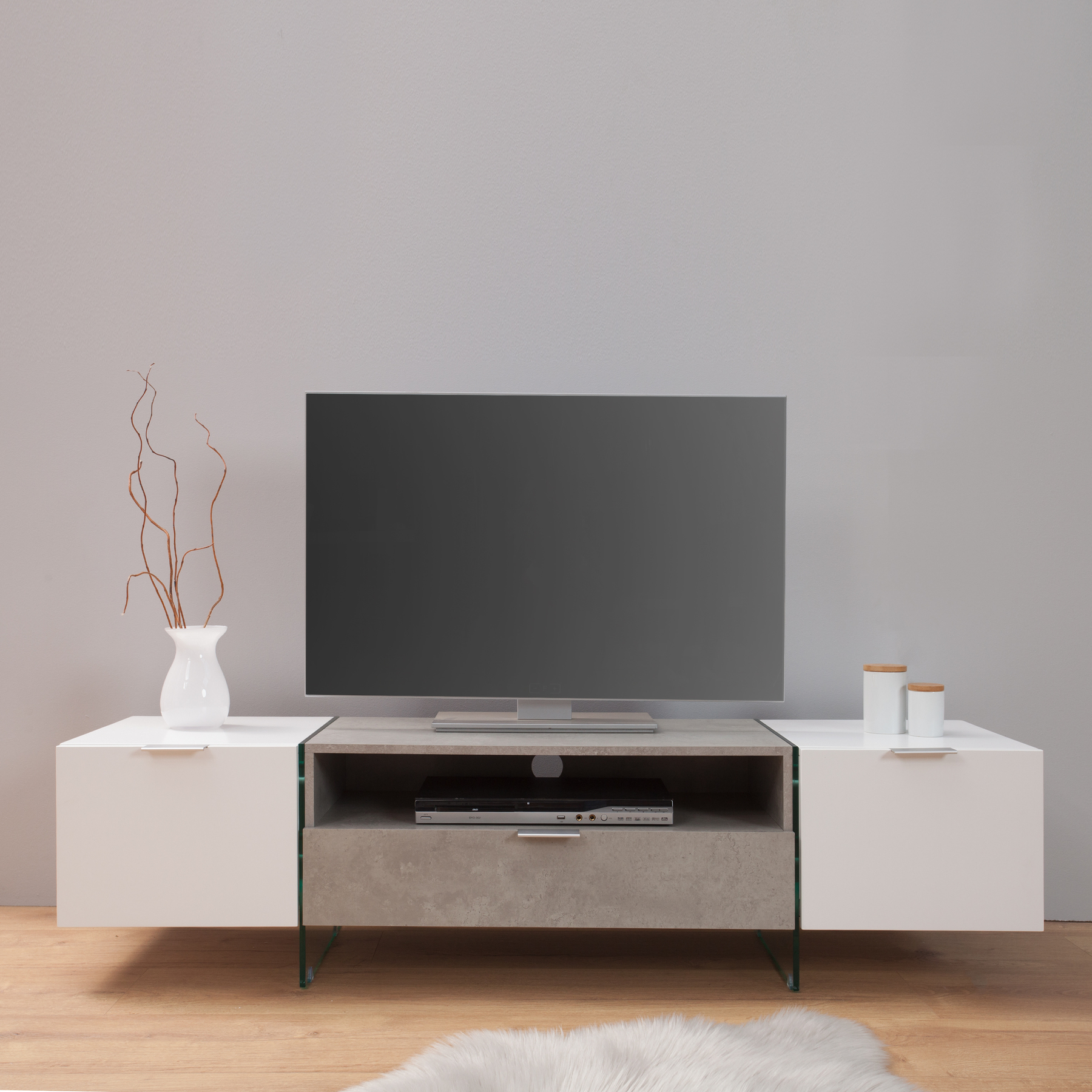 design tv lowboard onyx edelmatt weiss beton optik 160 cm board mit schublade ebay. Black Bedroom Furniture Sets. Home Design Ideas