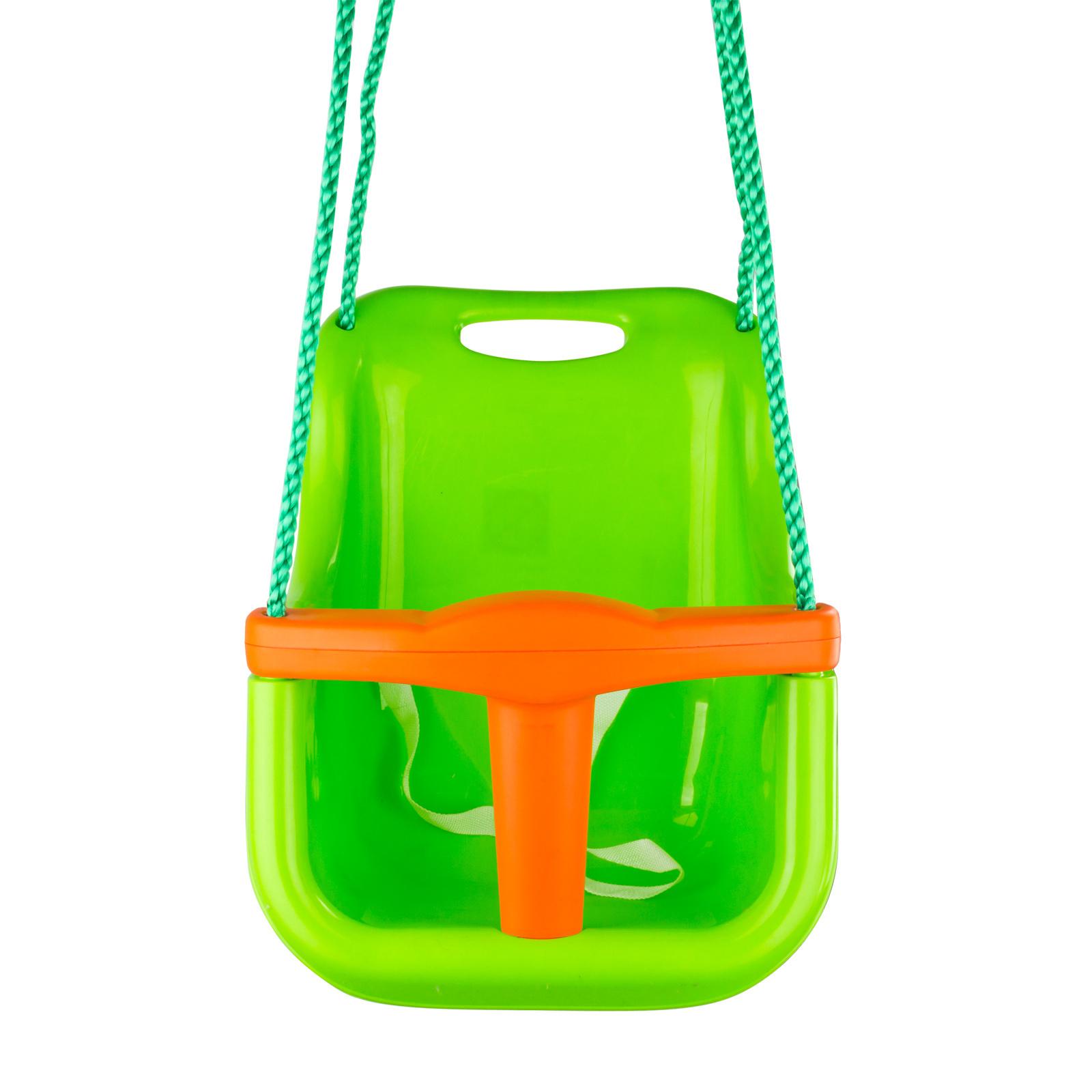 pvc babyschaukel schaukel kinderschaukel astschaukel mit seil gr n f r bis 25 kg ebay. Black Bedroom Furniture Sets. Home Design Ideas