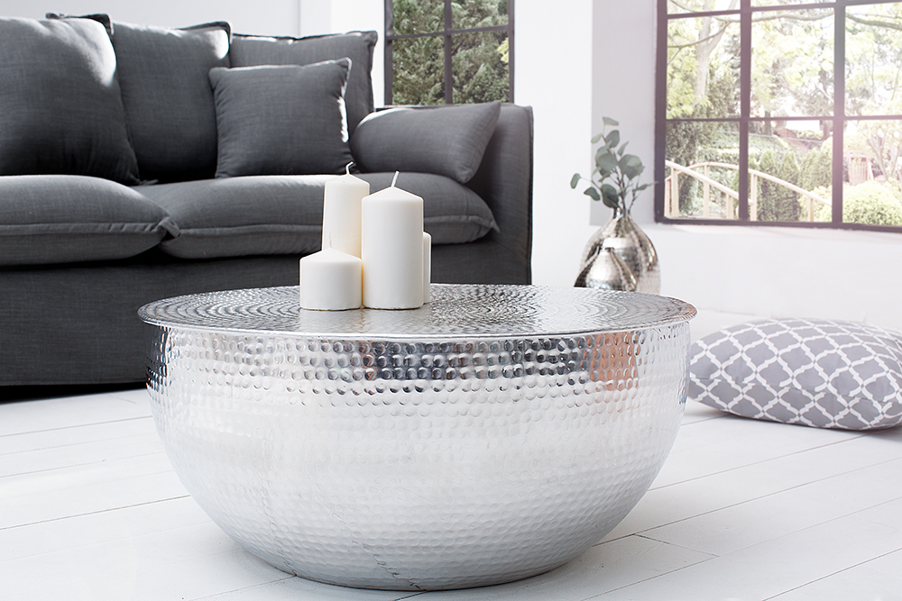 couchtisch orient ii 70cm aluminium silber hammerschlag optik wohnzimmertisch ebay. Black Bedroom Furniture Sets. Home Design Ideas