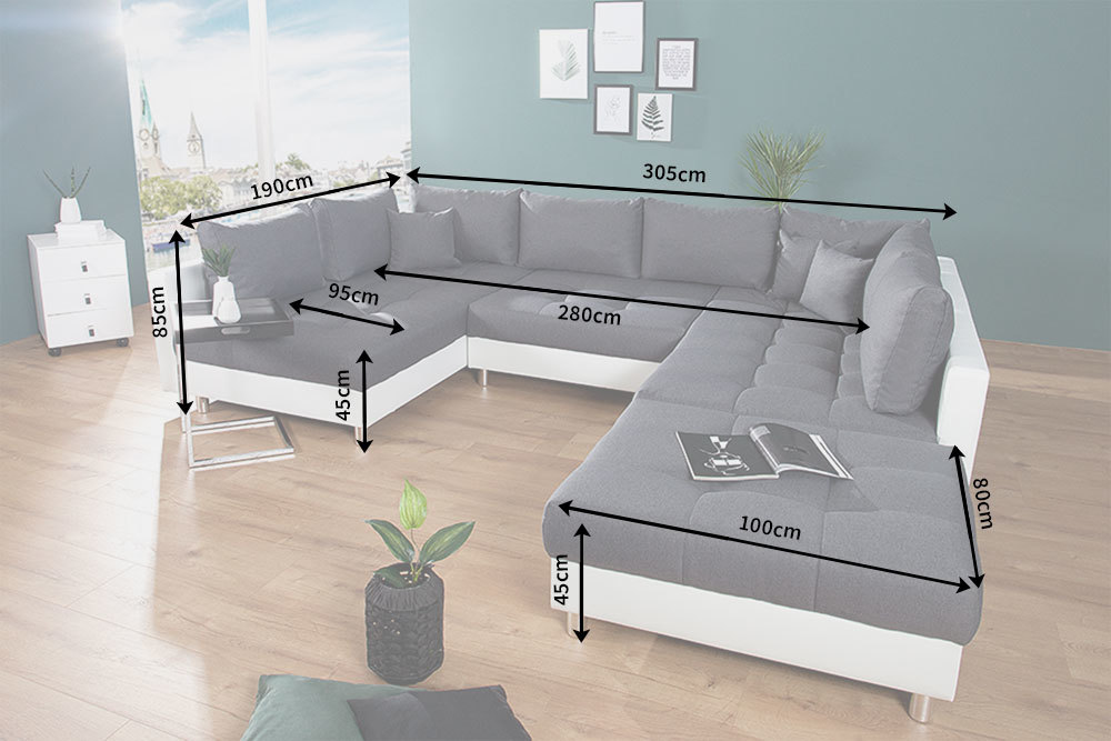 Details Zu Xxl Wohnlandschaft Kent 305 Cm Inkl Hocker Couch U Sofa Federkern Sofagarnitur
