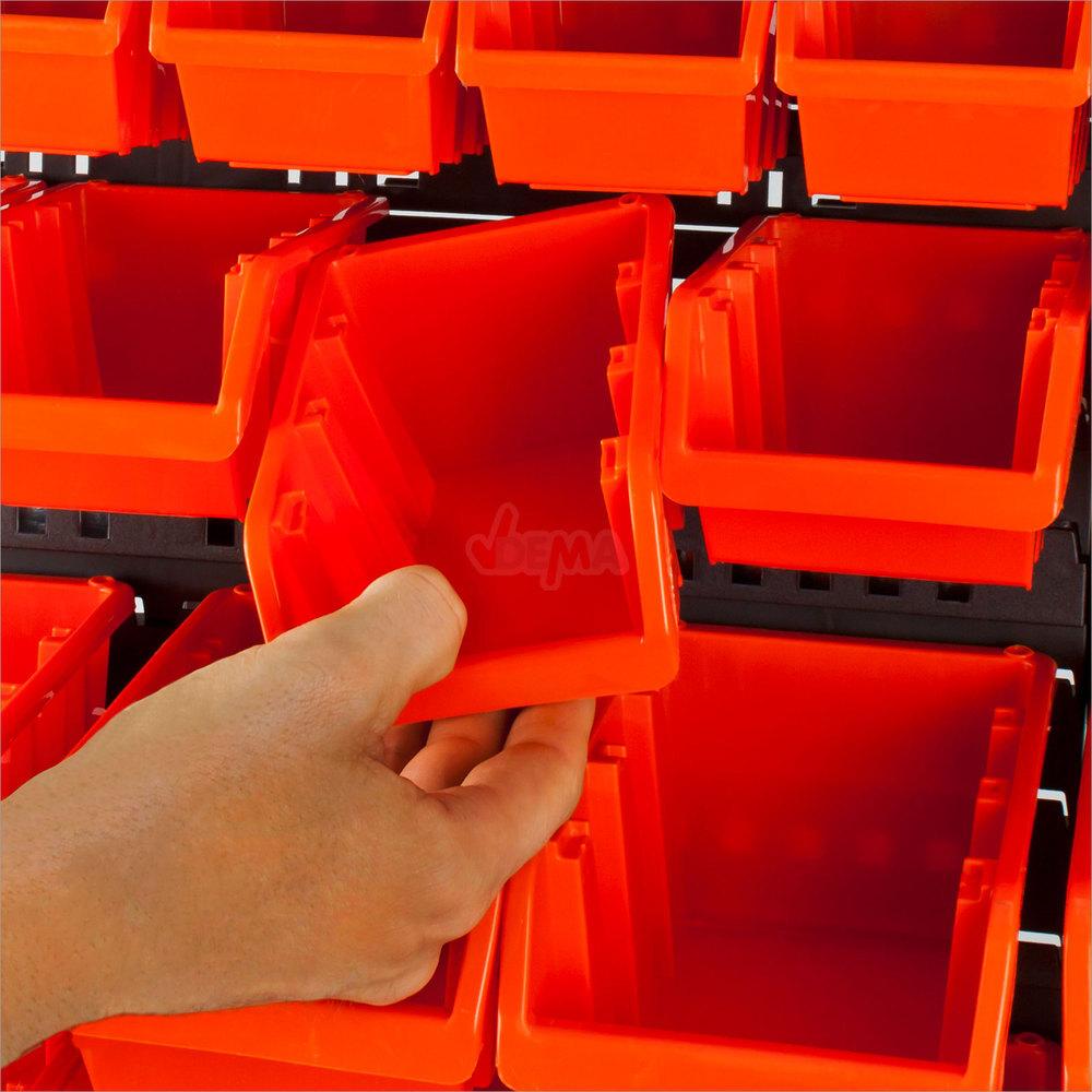 Werkstatt kleinteile wandregal sch ttenregal regal mit 24 - Stapelboxen kinderzimmer ...