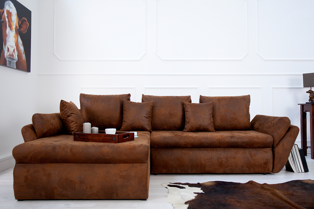 ecksofa rodeo braun used look mit schlaffunktion sofa eckcouch design couch 4250243557304 ebay. Black Bedroom Furniture Sets. Home Design Ideas