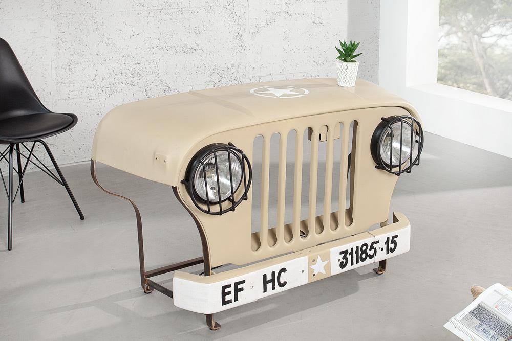 konsole schreibtisch gel ndewagen 130 cm beige inkl lichtanlage beleuchtet ebay. Black Bedroom Furniture Sets. Home Design Ideas