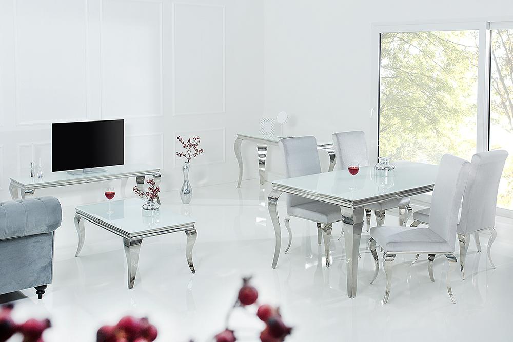 Konsolentisch MODERN BAROCK 140cm weiß Opalglas Beistelltisch ...