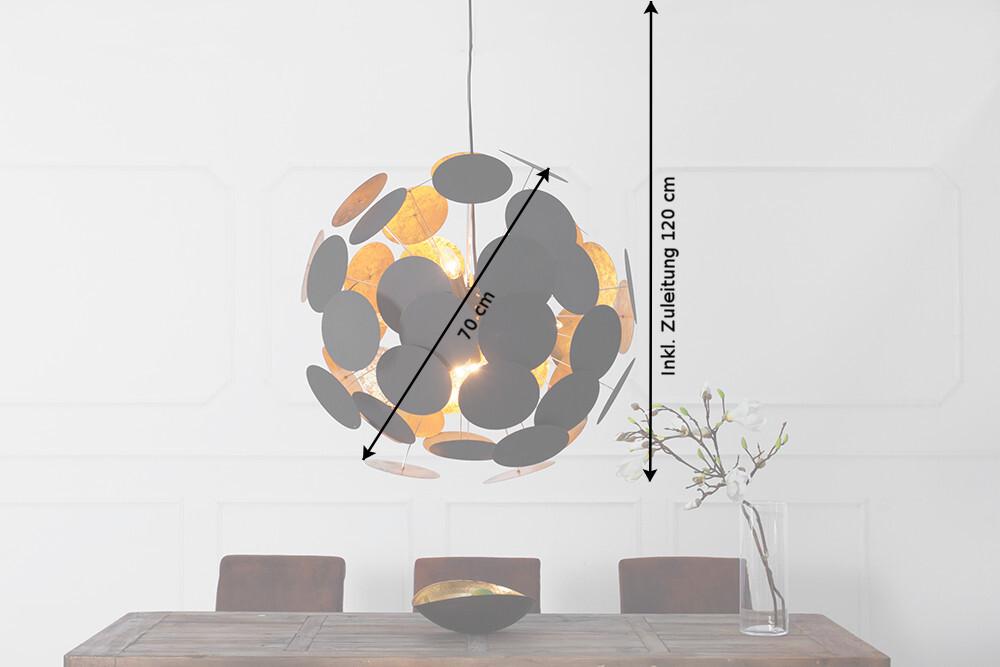 Design Hängelampe Pendelleuchte D 54 cm Flur Deckenstrahler Scheiben innen gold