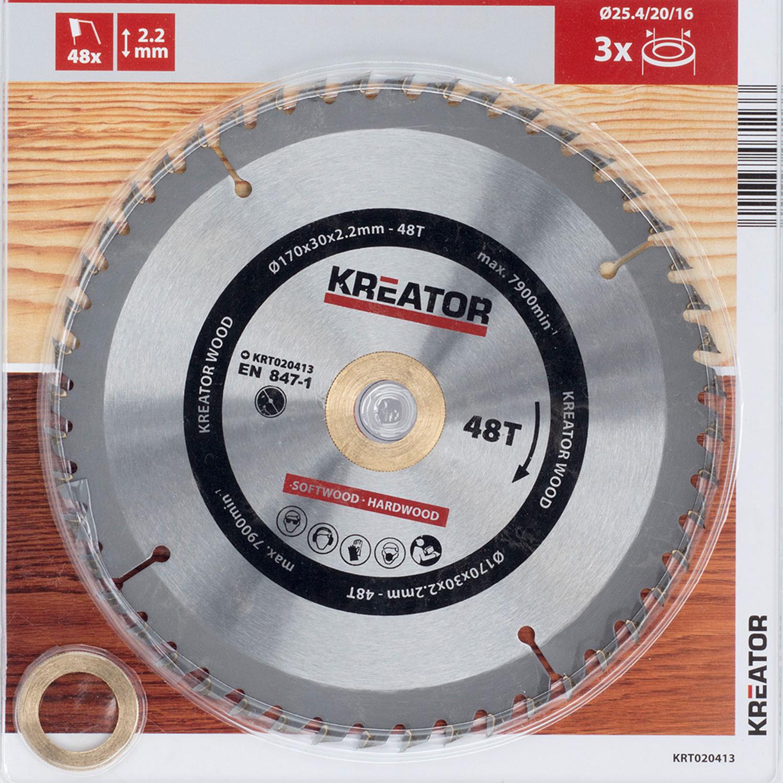 HSS Kreissägeblatt Holz Ø 170 mm 48 Zähne Sägeblatt 3 Reduzierringe universal