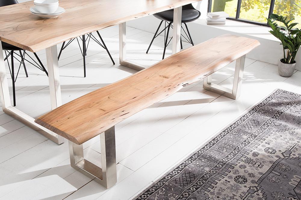 massive baumstamm bank mammut 200cm akazie massivholz sitzbank holzbank ebay. Black Bedroom Furniture Sets. Home Design Ideas