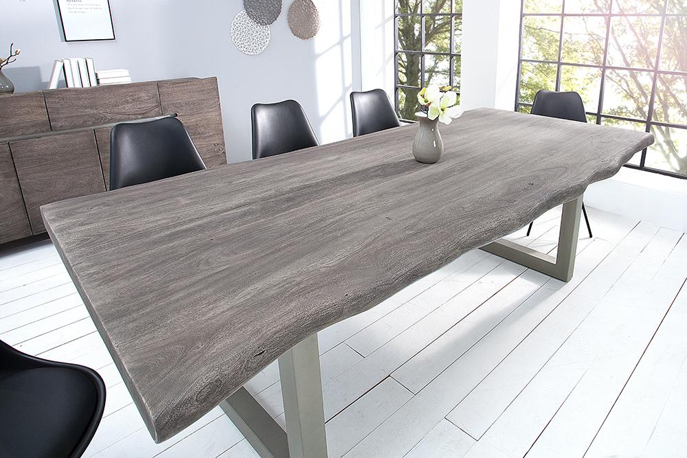 Industrial Esstisch MAMMUT grau Akazie Massivholz VARIANTENWAHL Baumkante Tisch   eBay