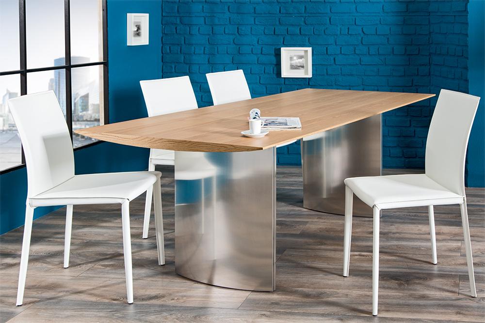 Exklusiver design stuhl milano echt leder ziernaht for Design lederstuhl