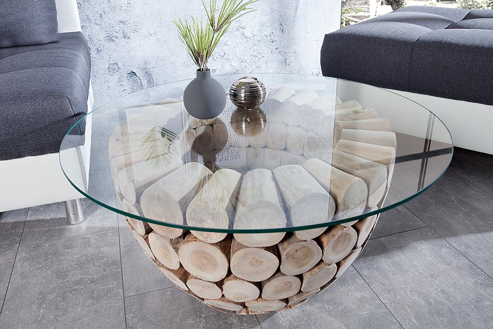 teak holz couchtisch pure nature 80cm rund glasplatte glastisch beistelltisch ebay. Black Bedroom Furniture Sets. Home Design Ideas