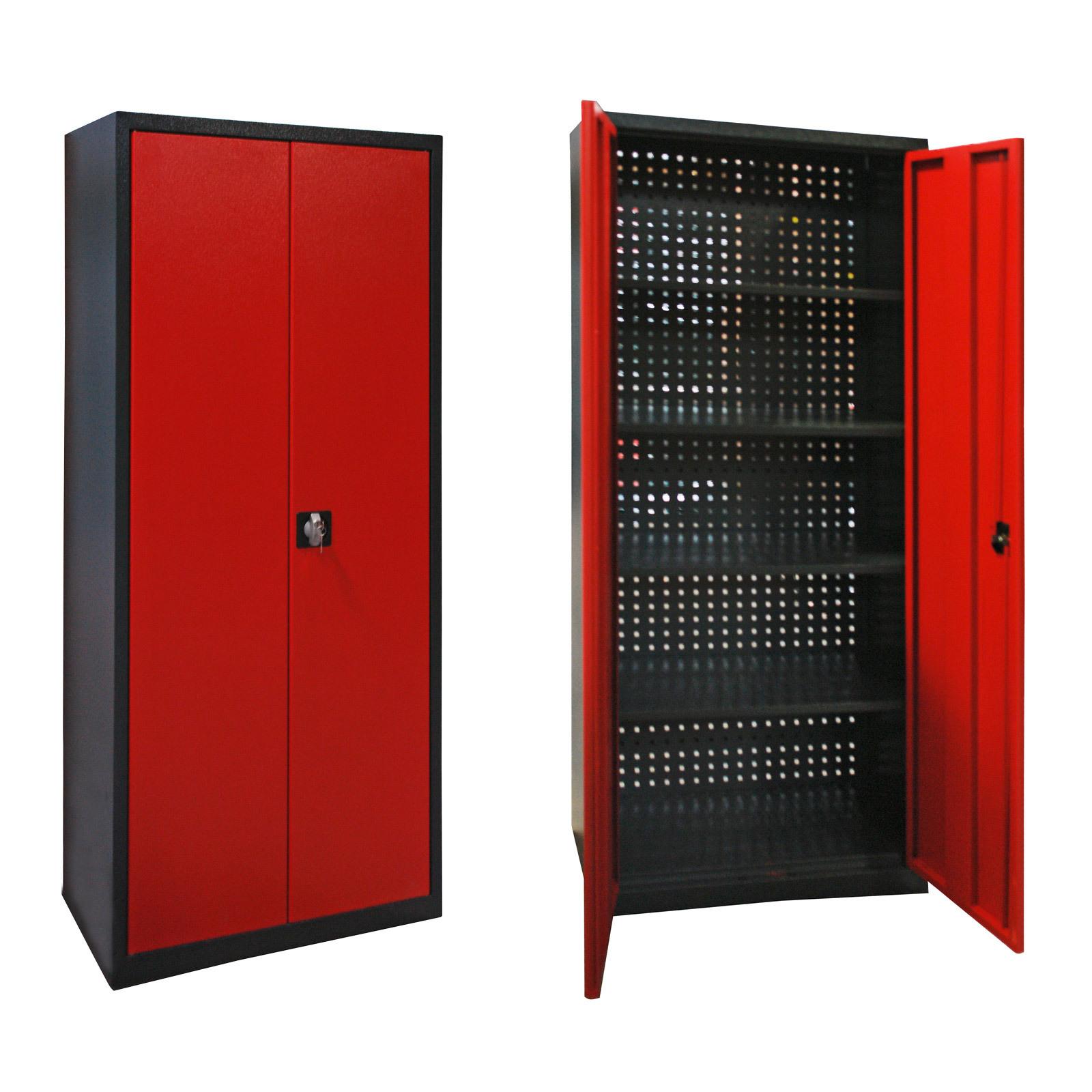 metall werkstatt schrank werkzeugschrank 78x192x38cm mit lochwand rot anthrazit ebay. Black Bedroom Furniture Sets. Home Design Ideas