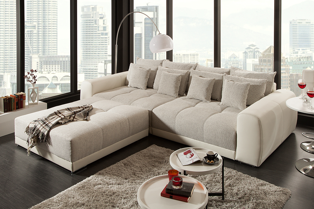 XXL Sofa GIANT LOUNGE in Greige Couch Wohnlandschaft Big