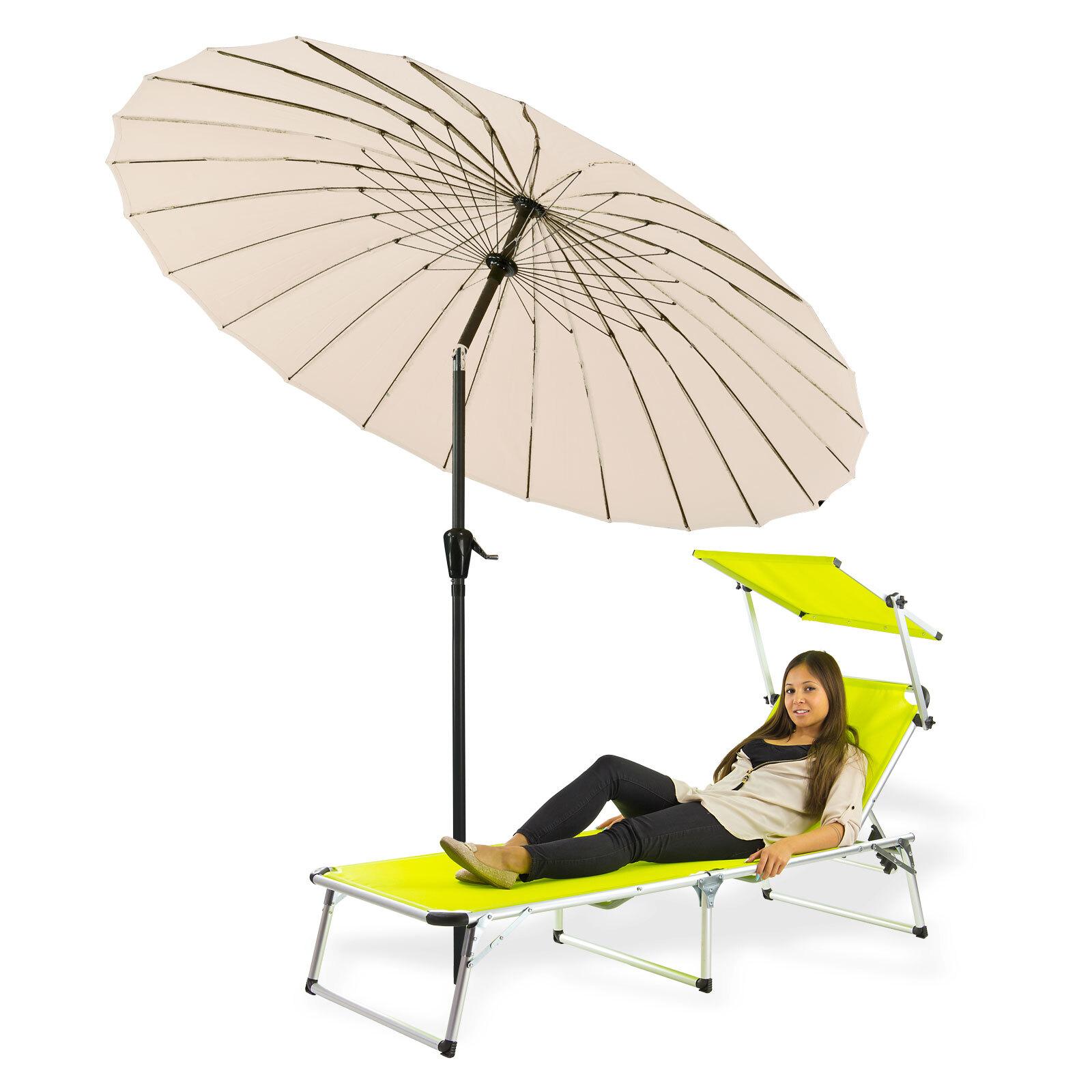 sonnenschirm gartenschirm sonnenschutz schirm mit kurbel rund 2 5m ecru beige 4031765412766 ebay. Black Bedroom Furniture Sets. Home Design Ideas