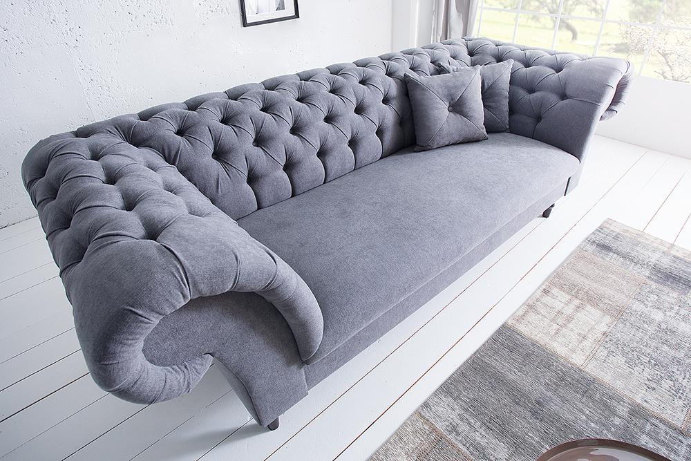 Chesterfield sofa contessa soft baumwolle grau mit 2 kissen ebay - Chesterfield sofa grau ...