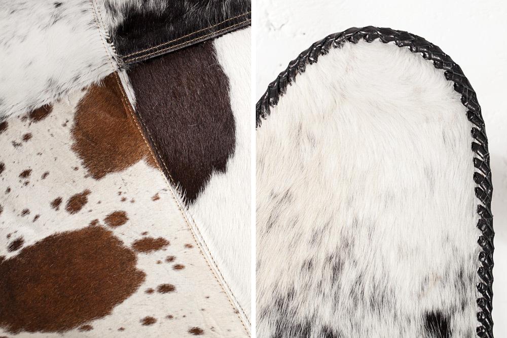 Design Sessel BUTTERFLY Kuhfell Schwarz Weiß Stuhl