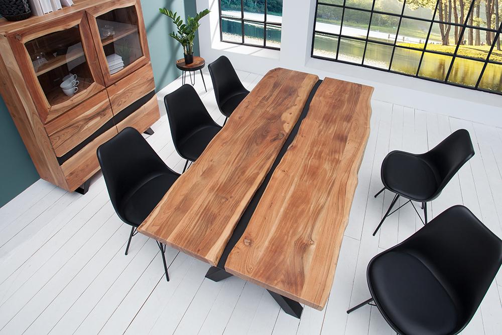 imposanter esstisch amazonas 200cm akazie metall schwarz. Black Bedroom Furniture Sets. Home Design Ideas