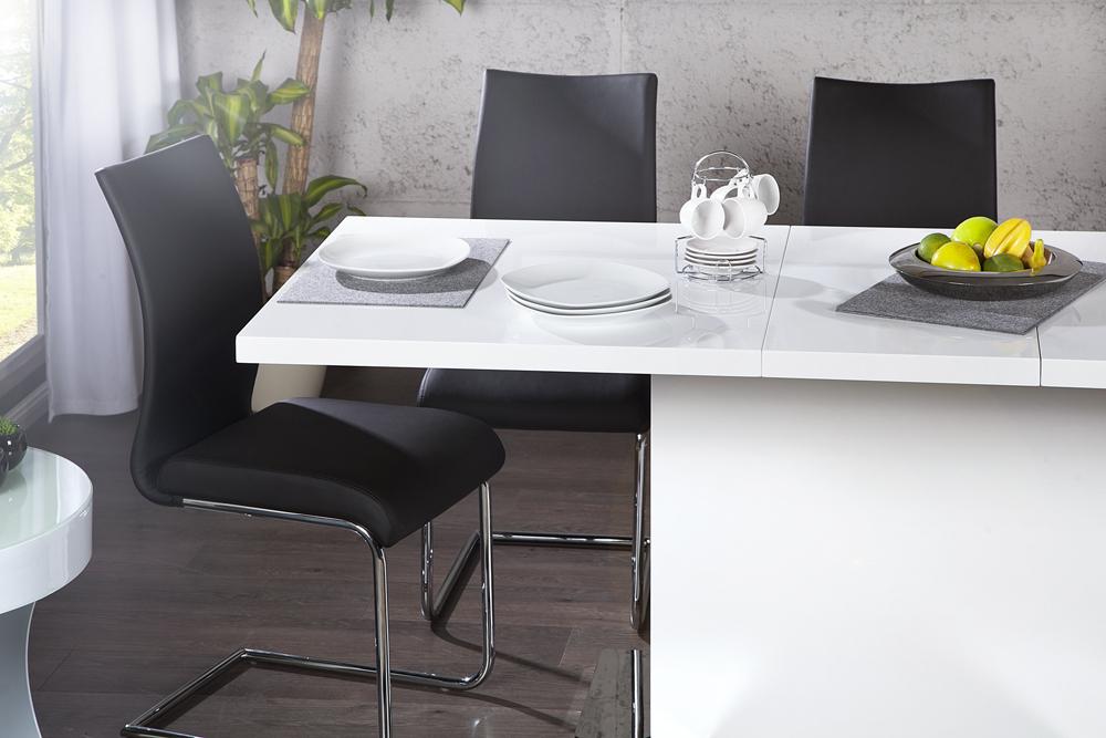 design esstisch polar wei hochglanz ausziehbar chrom konferenztisch tisch ebay. Black Bedroom Furniture Sets. Home Design Ideas