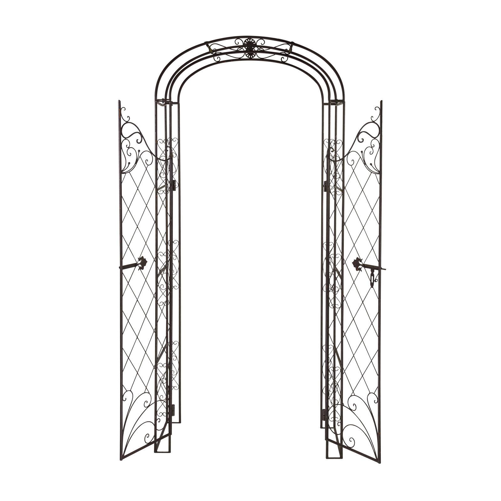 metall rosenbogen spalier pergola rankgitter rankhilfe torbogen mit tor t re ebay. Black Bedroom Furniture Sets. Home Design Ideas