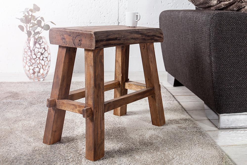 massiver hocker hemingway natur 45cm recyceltes teakholz holzhocker fu hocker ebay. Black Bedroom Furniture Sets. Home Design Ideas