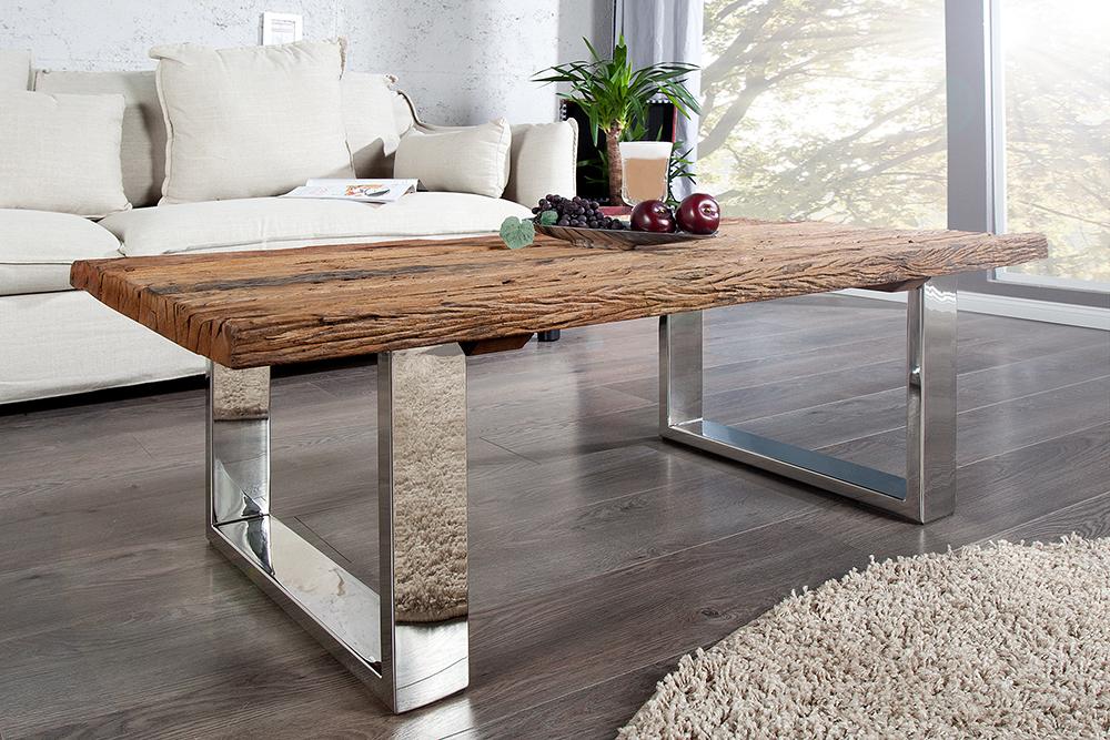 couchtisch barracuda 110cm teakholz mit kufengestell und glas tisch massiv ebay. Black Bedroom Furniture Sets. Home Design Ideas