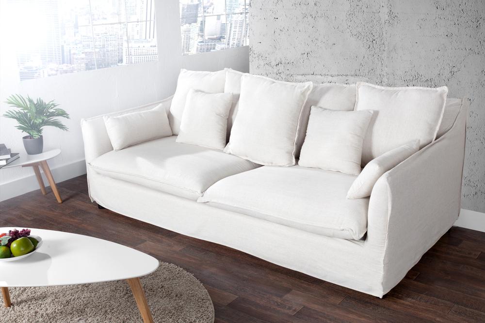 gro es hussensofa heaven leinenstoff 3er sofa 215cm sofa xxl big sofa ebay. Black Bedroom Furniture Sets. Home Design Ideas