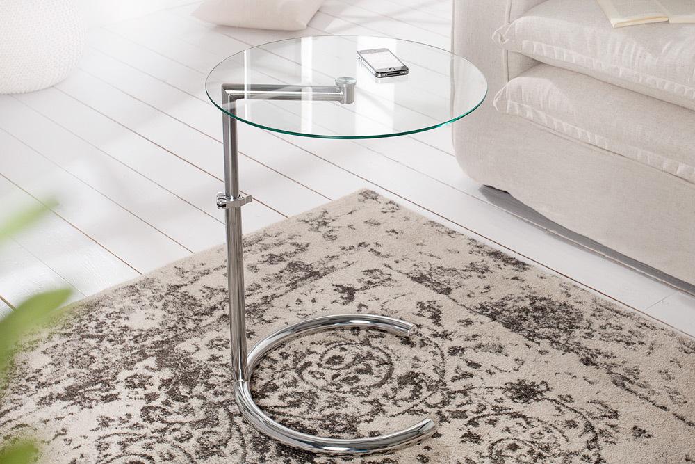 design beistelltisch effect 50 70 cm chrom glas h henverstellbar couchtisch ebay