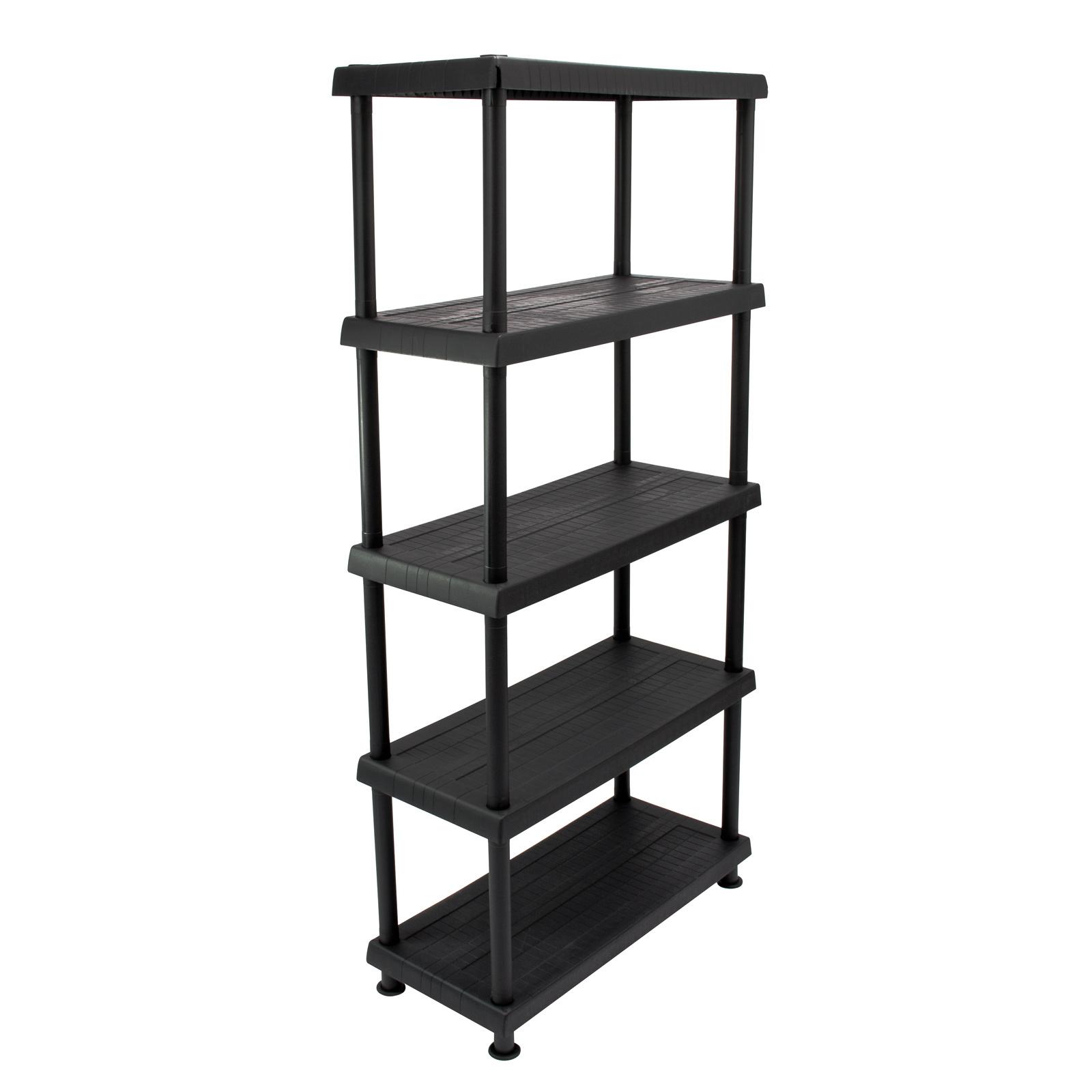 kunststoffregal allzweck regal f r keller garage werkstatt schwarz 5 b den 80 5 ebay. Black Bedroom Furniture Sets. Home Design Ideas